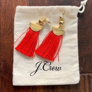 J. Crew red tassel earrings